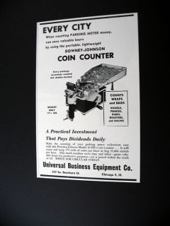 Downey Johnson Coin Couner machine 1947 prin Ad