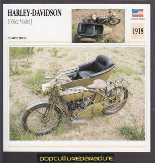 1918 HARLEY DAVIDSON 1000cc MODEL J w/SIDECAR BIKE CARD