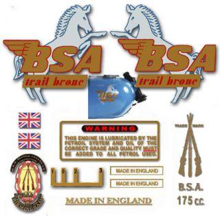 1964 69 D7 Trail Bronc   Restorers Decal Set   BSA Bantam Trail Bronc