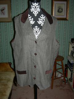 Classic Brown Tweed Collared Vest; LOTR Hobbit Costume Unisex SZ 18