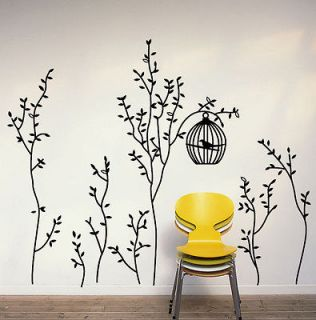Bird&Bird Cage&Trees Removable Wall Decals Vinyl Black Gray Home Decor