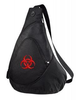 Biohazard Symbol Embroidered Black Sling Pack bag backpack