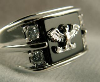 BLACK ONYX EAGLE MENS RING 318 stainless steel size 14