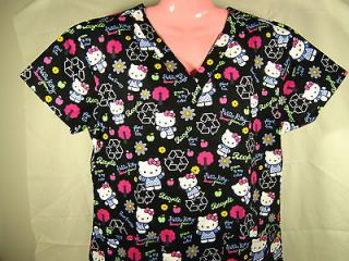 Nursing Medical Scrubs Top Hello Kitty Black Earth Day Message MEDIUM
