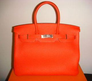 New 100% Authentic HERMES Birkin Bag 35cm Red Color Capucine Togo RARE
