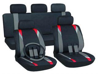 16pc Set Red Gray Black SUV Auto Car Seat Cover +FREE Wheel Belt Pads