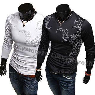Mens Casual Slim Fit Stylish Long Sleeves Shirts Tee T SHIRT 2Color