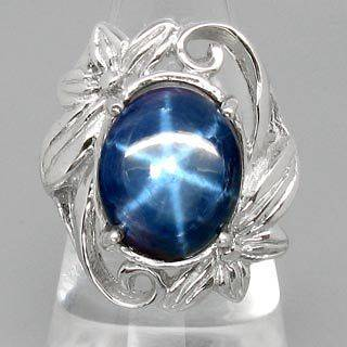 LUXURIOUS STYLE NATURAL GEM 6 RAYS BLUE STAR SAPPHIRE 925 SILVER RING