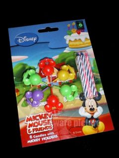 Mickey Mouse Disney Birthday Party Supply Cake w/ Holders Candles m538