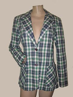 70s 80s Navy Blue/Green Plaid Preppy Boyfriend Blazer Jacket S/M