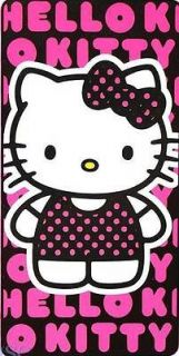 Official HELLO KITTY Beach Bath Towel PINK Black 30 x 60 Large NEW