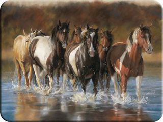 Horses Running through Stream Rush Hour Tempered Glass Cutting Board
