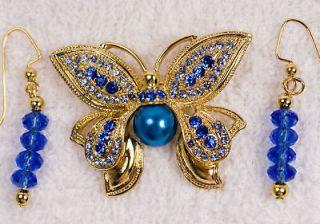 jewelry set BUTTERFLY pin brooch earrings Blue glass pearl gold tone