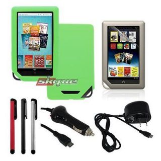 5in1 accessory for barnes noble nook tablet green skin case car+Wall