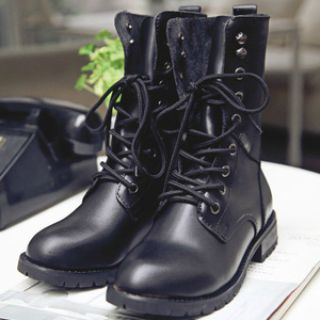 Fashion WOMENS LADIES MILITARY LACE UP ARMY COMBAT ANKLE BOOTS SIZE