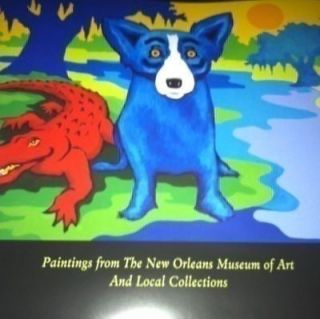 RODRIGUE BLUE DOGS AND CAJUNS ON THE RIVER POSTER