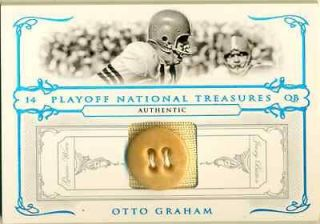 2007 NATIONAL TREASURES OTTO GRAHAM GAME USED JERSEY BUTTON LOGO PATCH