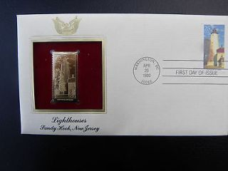 22k Gold Stamp Replica. US stamps LIGHTHOUSES SANDY HOOK, NEW JERSEY