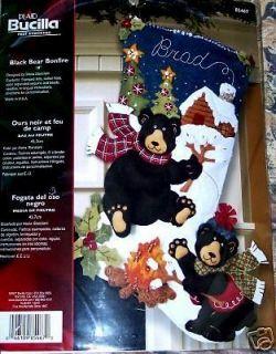 Bucilla ♥LOOK♥ BLACK BEAR BONFIRE Felt Christmas Stocking Kit
