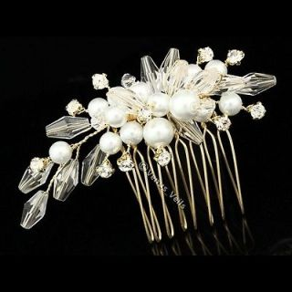 Gold Bridal Rhinestone Crystal Pearl Flower Bouquet Wedding Tiara Hair