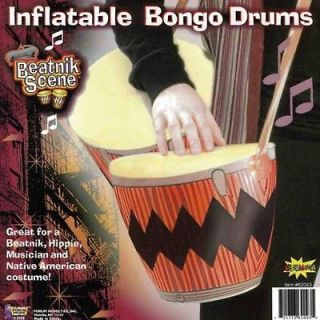Beatnik Hip inflatable Bongo Drums Prop 1960 Jazz hippie Halloween