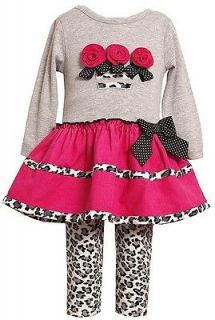 New Baby Girls Bonnie Jean sz 18m Pink Leopard FLOWER outfit Dress