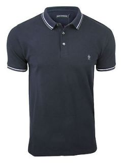 Mens FCUK/ French Connection Polo T Shirt Twin Tipped Darkest Blue