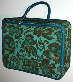 VINTAGE SUITCASE CARPET BAG w/ RETRO FLORAL TWEED SHELL