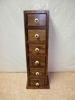 Dark Oak Stained Wood 6 Drawer Table Top Chest Of Drawers