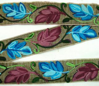 Indian Chain Stitch Embroidered Trim Lace 2 Wd Border Blue Maroon 1Yd