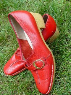 VINTAGE 60s Naturalizer Red Leather Shoes GUM SOLE ROCKABILLY RETRO Sz