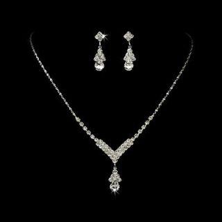 Bridal Wedding Jewelry Set Crystal Rhinestone Necklace V Teardrop