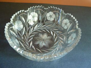 OLD ABP AMERICAN BRILLIANT PERIOD CUT GLASS BOWL SIGNED CLARK