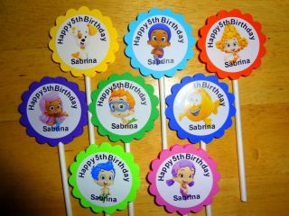 30 BUBBLE GUPPIES personalized cupcake toppers birthday party favors