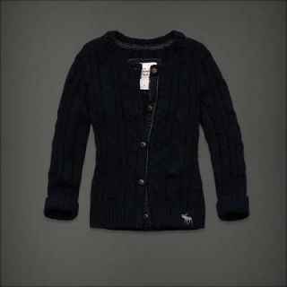 New ABERCROMBIE &FITCH navy wool cableknit Heather CARDIGAN sweater
