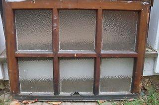 vintage pebble / crackle glass window sash , 6 panel, great art piece