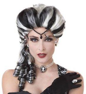 White Victorian Vampire Bride Frankenstein Widow Costume Wig Adult