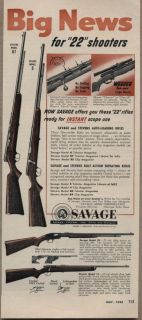 1954 Vintage Ad Savage Model 5 and Stevens Model 87 .22 Rifles