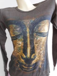 Buddha Image face Woman Retro tattoo t shirt S w16