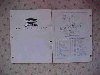 Jacobsen 3016 Rotary Snow Plow Parts List x