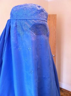 Blue Authentic Afghan Ladies Burqa Burka Jilbab Abaya Hijab Fancy