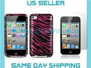 Plum Zebra Fur Print Design Case+LCD Cover Apple iPod Touch 4 4th