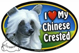 Love My Chinese Crested Dog Car Magnet Heart Puppy Pet Lover