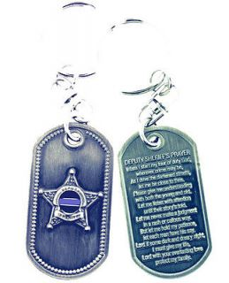 DEPUTY SHERIFFS PRAYER THIN BLUE LINE BRUSHED STEEL KEYCHAIN