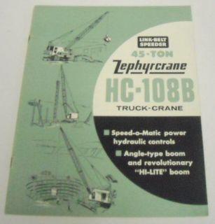 Link Belt Speeder 1962 HC 108 B Truck Crane Brochure