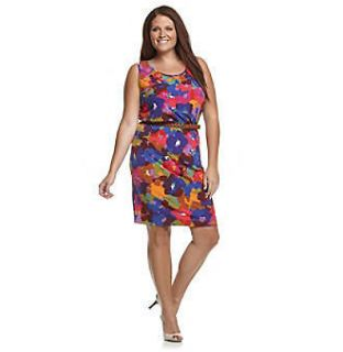 CALVIN KLEIN Mulberry Multi Color Belted Jersey Knit Dress, 16W *NWT $