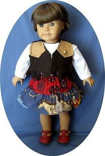 For American Girl Doll Clothes Western Wear Cowgirl Skirt Vest 18