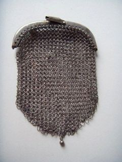 Antique Vintage Art Deco Silver Armor Mesh Coin Purse 925 Sterling