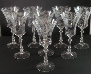 CAMBRIDGE ROSE POINT ETCHED GLASS 7.5 FOOTED ICED TEA/WATER GOBLETS