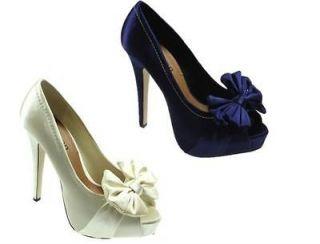 LADIES WOMENS IVORY/NAVY HIGH HEEL BRIDAL PEEPTOE PLATFORM PARTY SATIN